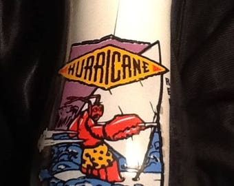 Red Lobster Hurricane 7 inch 18 oz.Vintage Bar Glass with Sailboarding Lobster