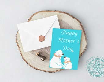 Mothers Day Card Happy Mothers Day Printable 5x 7 Card for Mom Card Digital Download Polar Bears Greeting Card