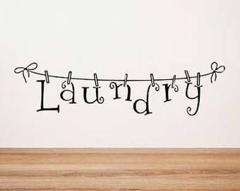 Laundry Room Laundry Clothesline Wall Vinyl Decal Sticker Decor