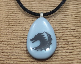 Dragon Necklace, Fused Glass Pendant, Black and White Pendant (looks Grey), Fused Glass Jewerly, Ready to Ship - Esta -5