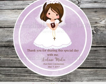 First Communion, Baptism, Confirmation, Religious, Set of 12 Personalized Favor Tags, Stickers, Thank You Tag, Purple Watercolor, Cross