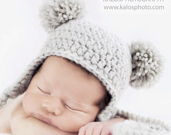 Baby Bear Hat, Infant Earflap Beanie with Pom-Poms, 6-12 months