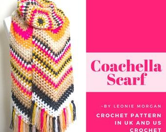 Scarf Crochet Pattern - Coachella Scarf - PDF crochet pattern