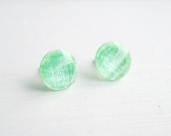 Mint Green Glitter and Resin Stud Earrings