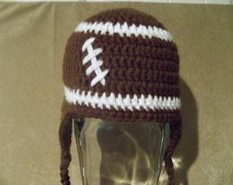 crocheted baby football flapper beanie