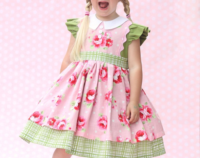PRINTED Girls Dress Pattern: Georgia Vintage Dress Pattern - Size 6 Month - 10 Years