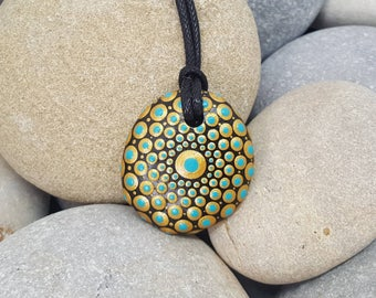 Gold Hand-Painted Necklace - Paint Rock - Mandala Rock - Turquoise Pendant - Mandala Art - Hand-Painted Pendant Stone - Chakra