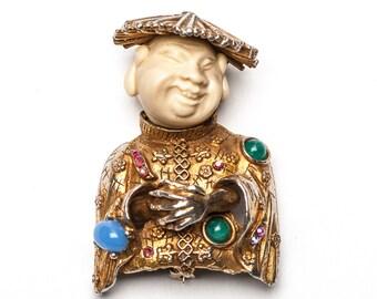 Asian Man Brooch Chinese Man Brooch