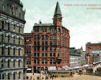 Rochester New York Main Street East North Side Vintage Postcard circa 1910 (unused)