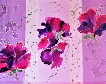 """Fine art, floral, abstract, original artwork, acrylic painting  flowers on paper :"""" Sweet peas"""" white or black frame 13x17 inches( 33x43 cm)"""