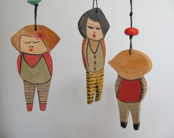 Anna dolls--Ceramic Marionette--Valentine's Day Gift can be hung on the wall. or from the ceiling-red green.