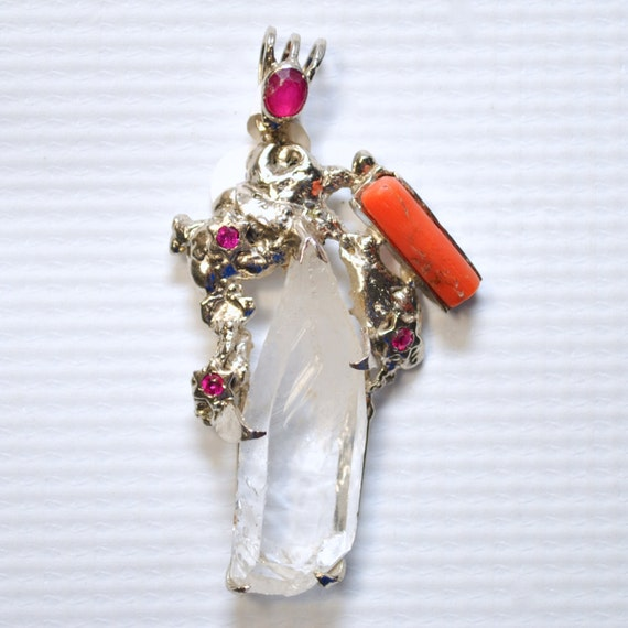 Sterling Silver with Coral, Emerald and Rubies  Pendant #6502