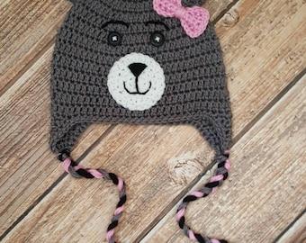 Crochet Bear Hat, Girl Hat, Winter Hat, Earflap Hat, Pink Bow