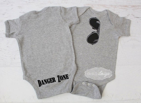 THE ORIGINAL Reflection Style Aviator Sunglasses Onesie in Heather Grey with Danger Zone on the Bum