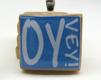 Hebrew Scrabble tile pendant - Oy Vey - white on blue - great Jewish gift