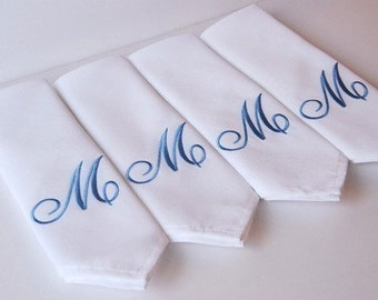 Cloth Embroidered Dinner Napkins, Elegant Monogrammed Fancy Napery Personalized Cloth Dinner Napkin