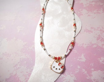 Hello Kitty Ankle Bracelet In Red And Gold