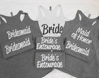 7 Bridesmaid Tank Tops, Set of 7 Bridesmaid Tanks, 7 Bachelorette Party Tanks, 7 Bridal Party Tank Tops, Cute Flowy Bachelorette Tanks Tops