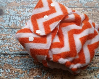 One Size Fleece AI2 Hybrid Fitted Organic Cotton Cloth Diaper  Orange and White Chevron All in Two