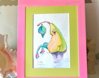 Frooty-booty pear original watercolor drawing. Painting of  pear framed.