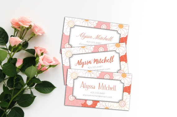 Vintage Zinnia Calling Cards, Business Cards, Set of 50 Cards, Set of 100 Cards, Simple Vintage Floral Personal Contact, Vintage Design Card