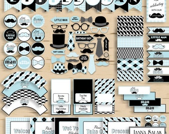 Little Man Birthday PRINTABLE Party Package Decorations Blue and Black Diy INSTANT DOWNLOAD Pdf