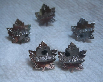 Liberty Silver Maple Leaf Name Pins Letter G