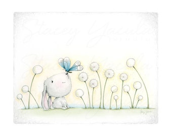 "Bunny Wall Art •  Bunny Illustration • Bunny Kids Print • ""FINDING YOU!"""