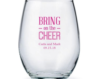 Set of 36 Bring on the Cheer Stemless Wine Glasses - Personalized Drinking Glass - Personalized Party Glasses - Wedding Glasses - Favor