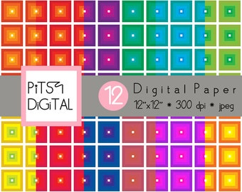 Square Digital Paper Pack, Commercial Use, Check Scrapbooking Supply, Printable Background, Checkerboard 12 Sheets, PitsyDigital DP0002