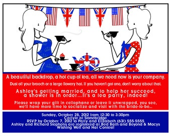 British American Tea Bridal Shower Invites Red Blue