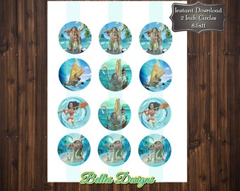 Moana Cupcake Toppers, Moana Bottle Cap Images 2 inch Cirlces, Party Decor, Stickers, Tags, Craft Supplies, Maui, *Digital File*