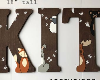 Wooden Letters for Nursery, Woodland Birthday, Woodland Nursery Decor, Woodland Baby Shower, Woodland Brithday Decor, Woodland Creatures
