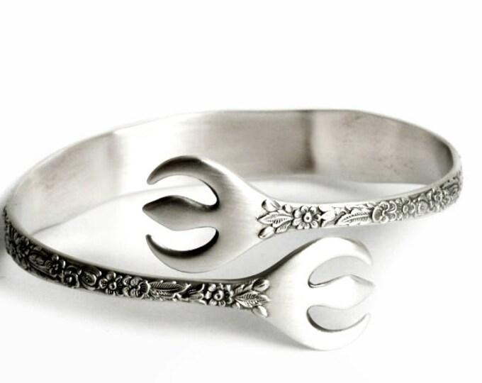 Wild Flower Bracelet, Sterling Silver Trident Bracelet, Sugar Tong Bangle, Flatware Jewelry, Alvin 1932 Bridal Bouquet, Adjustable (B6978)