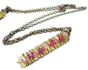 Crystal Pillar Necklace in Fuchsia and Pink