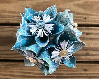 Ocean Blue Paper Flower Bouquet