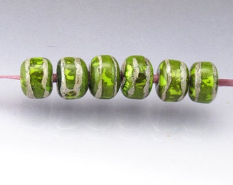 Lampwork glass bead set MTO Lampwork bead set Small round beads Handmade glass beads Green lampwork Green beads Anne Londez SRA