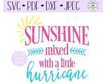Sunshine mixed with a little hurricane onesie SVG digital cut file for htv-vinyl-decal-vinyl cutter-craft cutter- SVG - DXF & Jpeg formats.