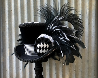 Mini Top Hat, Pirate Hat, Black and White STripe hat, Night Circus, Alice in Wonderland, mad hatter hat, mad tea party, Tea Hat