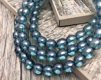 Blue Ridge Druk 6mm Czech Glass Beads