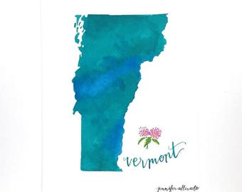 Vermont watercolor state art print