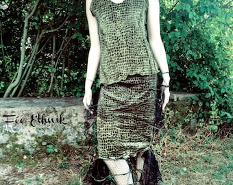 """set skirt and top of velvet with black POKA DOTS fine tulle """"FOREST"""""""