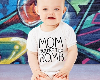 Funny Mom you're The Bomb T-shirt Family Gift For Mom Mother's Day Gift Mommy Baby Bodysuit Toddler Youth Shower Baby Shower Gift Mom to Be