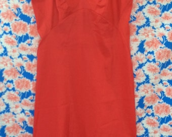AS IS SULTRY 1960's Lipstick Red Van Raalte Slip