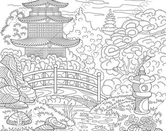 Chinese Pagoda. Japanese Garden. Coloring Pages. Coloring book pages for Kids and Adults. Instant Download Print