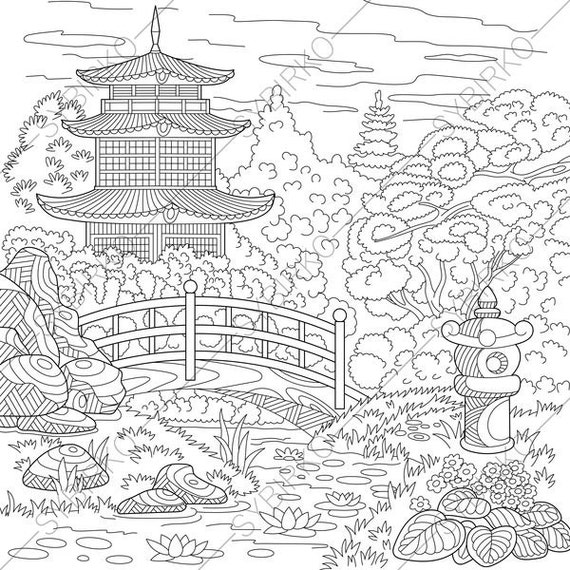 Chinese Pagoda. Japanese Garden. Coloring Pages. Coloring book