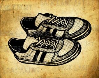 Vintage Sneakers Clipart Lineart Illustration Instant Download PNG JPG Digi Line Art Image Drawing L048