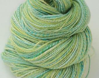 Frog Water, Hand Spun, Handspun, Hand Dyed, Dyed, Yarn, Lace, Merino, Silk, Green, Blue, Aqua, White