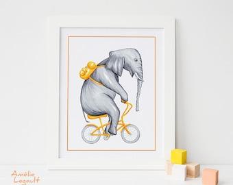 Elephant on bicycle print, cycling elephant, kids wall art, 5 x 7,  8 x 10 and 11 x 14 prints