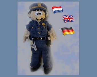 Officer Mike, Amigurumi doll crochet pattern, crocheted dolls pattern, amigurumi PDF pattern, Instant download